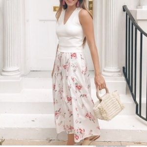 Rebecca Taylor Marguerite Floral Print Skirt